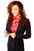 Beautiful businesswoman texting — Foto de Stock