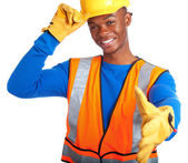 African-American construction worker — Stock Photo