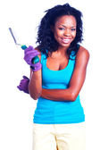 Woman holding gardening tool — Stock Photo