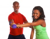 African-American couple exercising — Foto Stock