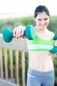 Hispanic female training — Stock Photo