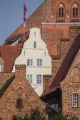 Old houses in the historic center of Lubeck — Stock Photo