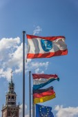 Flags in front of the Rathaus in Leer — Stock Photo
