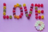 Word love spelled with candy — Stock Photo