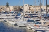 Yachts and motorboats in the port of Trani — Stock Photo