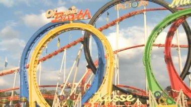 Oktoberfest Rollercoaster — Stock Video