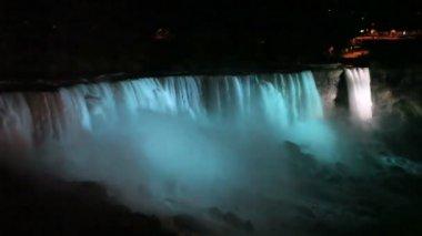 Niagara Falls at night — Stock Video