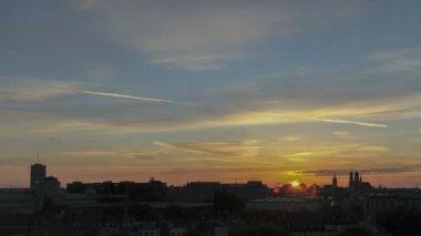 Timelapse Munich Skyline Sunset — Stock Video
