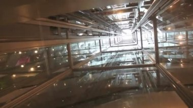 Transparent Elevator Ride — Stock Video