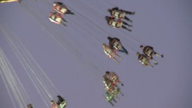 Oktoberfest Flying Swing Carousel — Stock Video