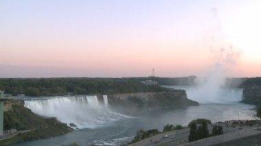Niagara Falls at sunrise — Stock Video