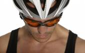 Man in bicycle helmet — Stock Photo