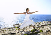 Woman doing Yoga exercise — Stock Photo