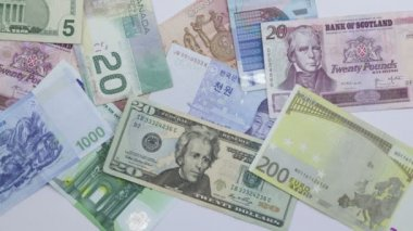 International currency piling up — Stock Video