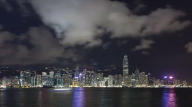 Hong Kong Skyline over Victoria Harbour — Stock Video