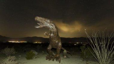 Prehistoric dinosaur with stars — Stock Video