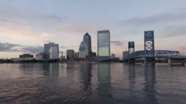 Sunset Skyline Jacksonville Forida — Stock Video