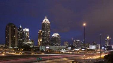 Atlanta skyline at twilight — Stock Video