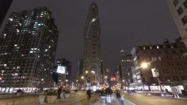 Flatiron Building New York at night — Stock Video