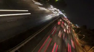 Freeway light trails at night — Stock Video