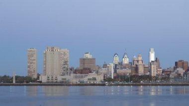 Philadelphia Skyline at dawn — Stock Video