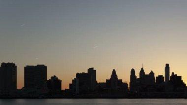 Sunset Philadelphia Skyline — Stock Video