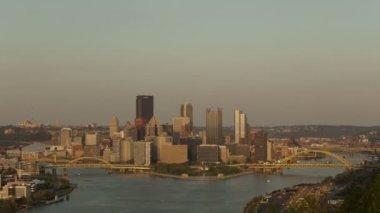 Sunset Pittsburgh Skyline — Stock Video