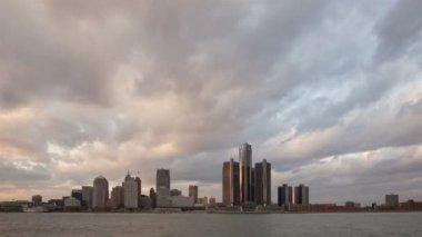 Detroit Skyline sunset — Stock Video