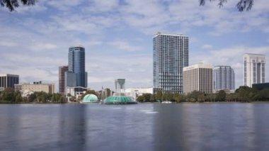Orlando skyline from Lake Eola — Stock Video