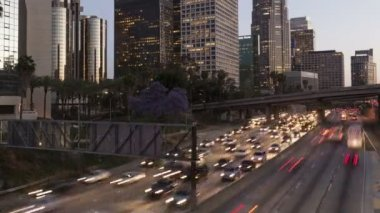 Los Angeles  with traffic light trails — Stock Video