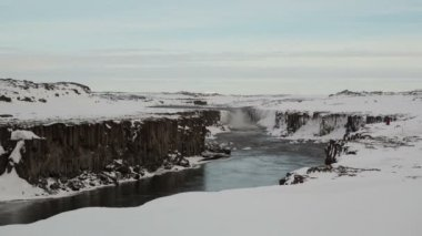 Selfoss waterfall in Iceland — Stock video
