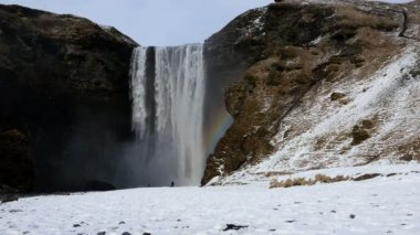 Skogafoss waterfall in winter — Stock Video