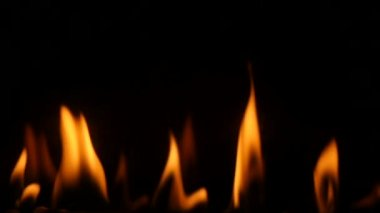 Slowmotion fireplace burning close up — Stock Video