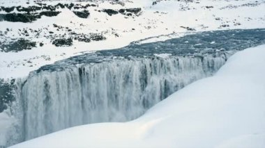 Dettifoss waterfall in winter — Stock Video