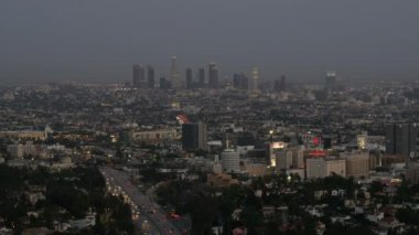 Skyline of Los Angeles at twilight — Stock Video
