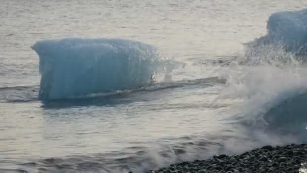 Iceberg moving in water at coast — Vidéo