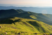 Green slopes of the Carpathian mountains — Stock Photo