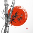 Постер, плакат: Card with bamboo and big red sun in sumi e style