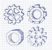 Gear wheels pen sketches — Vector de stock