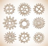 Gear wheels sketches — Stock Vector