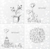 Greeting birthday cards with gift boxes and balloons — Vettoriale Stock