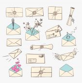 Envelopes and other mail symbols hand-drawn in vintage sketchy style. — Stock Vector