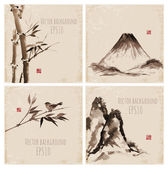 Set of vintage compositions in sumi-e style. Bamboo trees and mountains. — Stock Vector