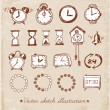 Set of vintage doodle sketch watches. — Stock Vector #53883517