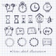 Set of vintage doodle sketch watches. — Stock Vector #53883567