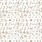 Seamless background with music notes and signs — Vector de stock