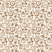 Seamless background with doodle sketch watches a — 图库矢量图片