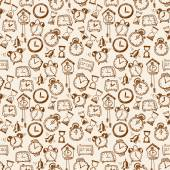 Seamless background with doodle sketch watches a — Stockvektor