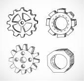 Gear wheels sketches — Vector de stock