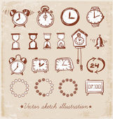 Set of vintage doodle sketch watches. — Stockvektor
